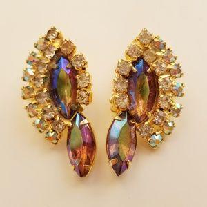 Vintage Amber Aurora Borealis Clip On Earrings